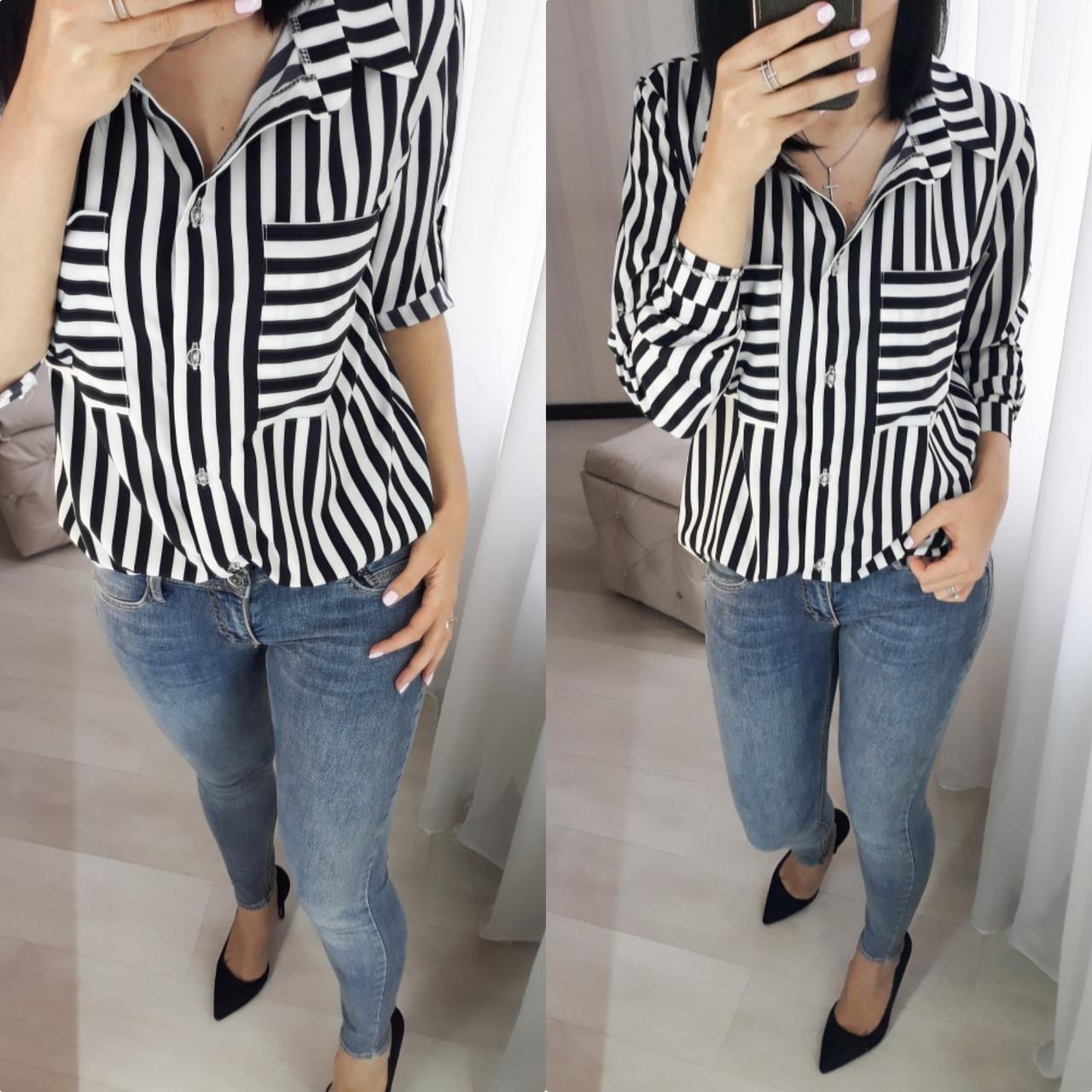Женская рубашка в полоску с карманами