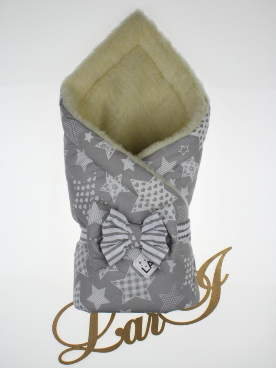 """Зимний конверт-одеяло """"Совушка"""", серый с принтом"""