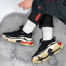 Женские кроссовки Balenciaga Triple S в стиле Баленсиага Трипл С многослойная подошва ЧЕРНЫЕ (Реплика ААА+)