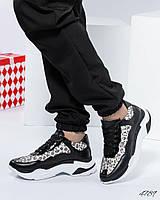 Кроссовки женские с леопардовыми вставками, фото 1