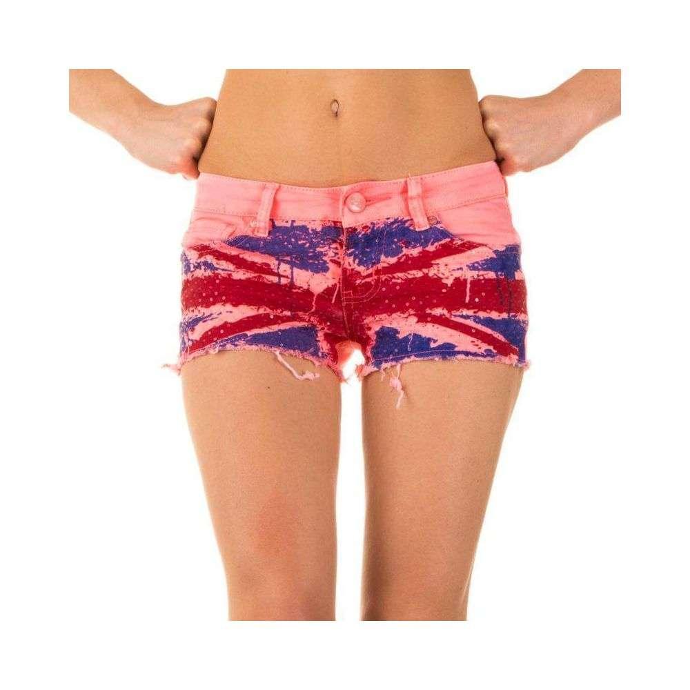 Короткие джинсовые шорты с английским флагом от Simply Chic (США) Розовый