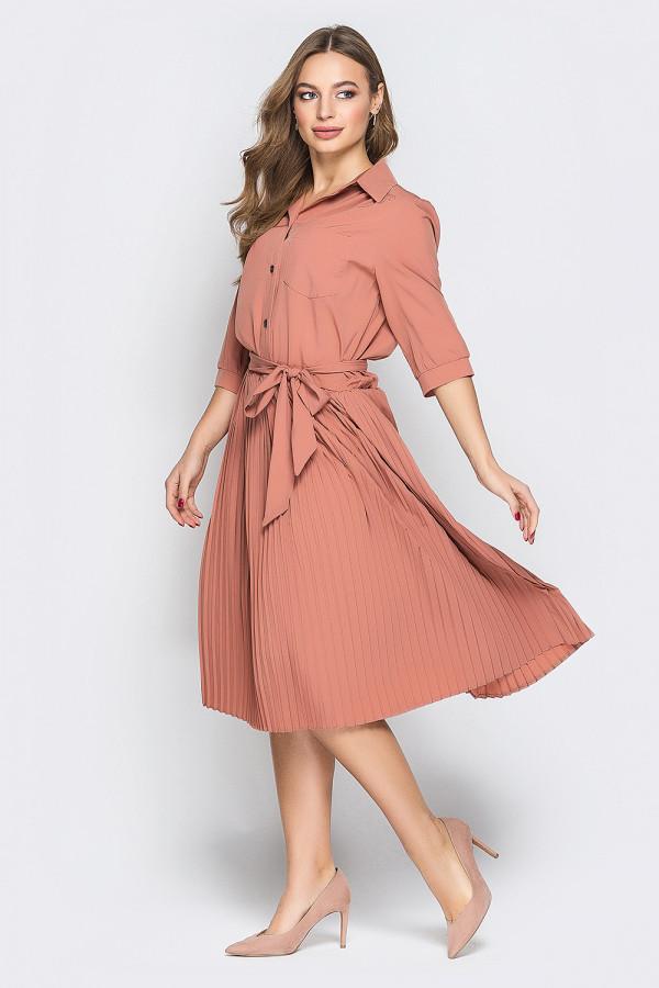 Платье рубашка с юбкой плиссе