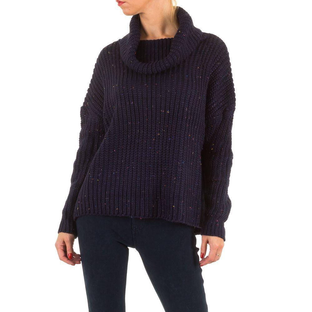 Женский вязаный свитер с воротником хомут (Европа), Темно-синий