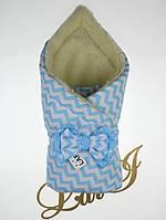 """Зимний конверт-одеяло для новорожденных """"Совушка"""", белый/голубой, волна"""