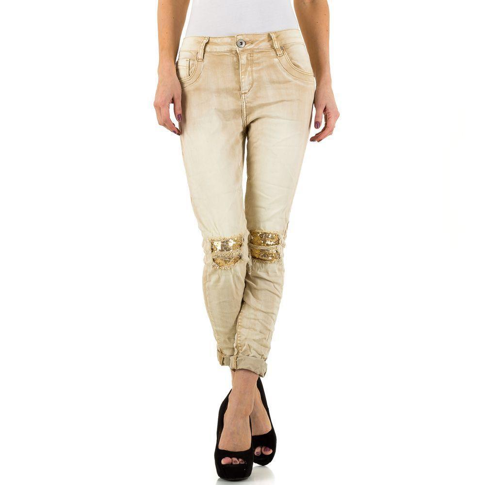 Женские джинсы с декорированными коленями от Mozzaar (Европа) Бежевый