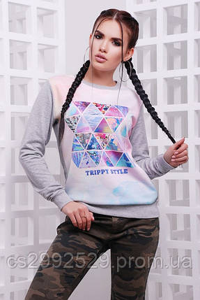 "Свитшот ""Cotton"" Trippy style, светло-серый, фото 2"