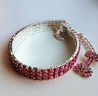Колье стрейч с косточкой Розовый кристалл