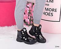 Женские   ботинки Gucci  Гуччи черные натуральная кожа (реплика), фото 1