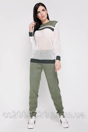 """Вязаный костюм """"TISSU"""" Оливковый/Темно-зеленый, фото 2"""
