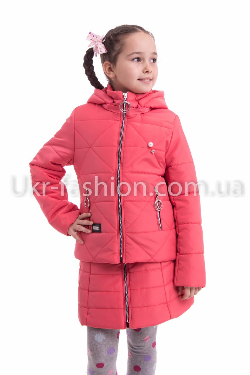 Осенняя курточка для девочки от производителя34-42 коралл