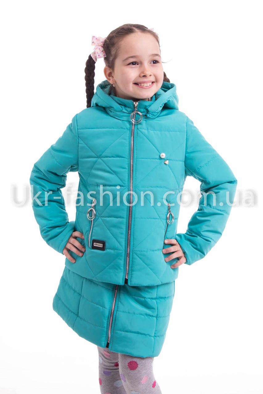 Куртка весна-осень девочка  удлиненная  34-42 бирюза