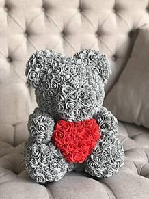 Мишка из 3D роз 40 см в красивой подарочной упаковке - лучший подарок девушке на любой праздник