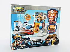 Трек Трансформер, трансформер  ( робот + машинка ) , мойка, машинка 5,5 см, дорожные знаки Tobot Тобот