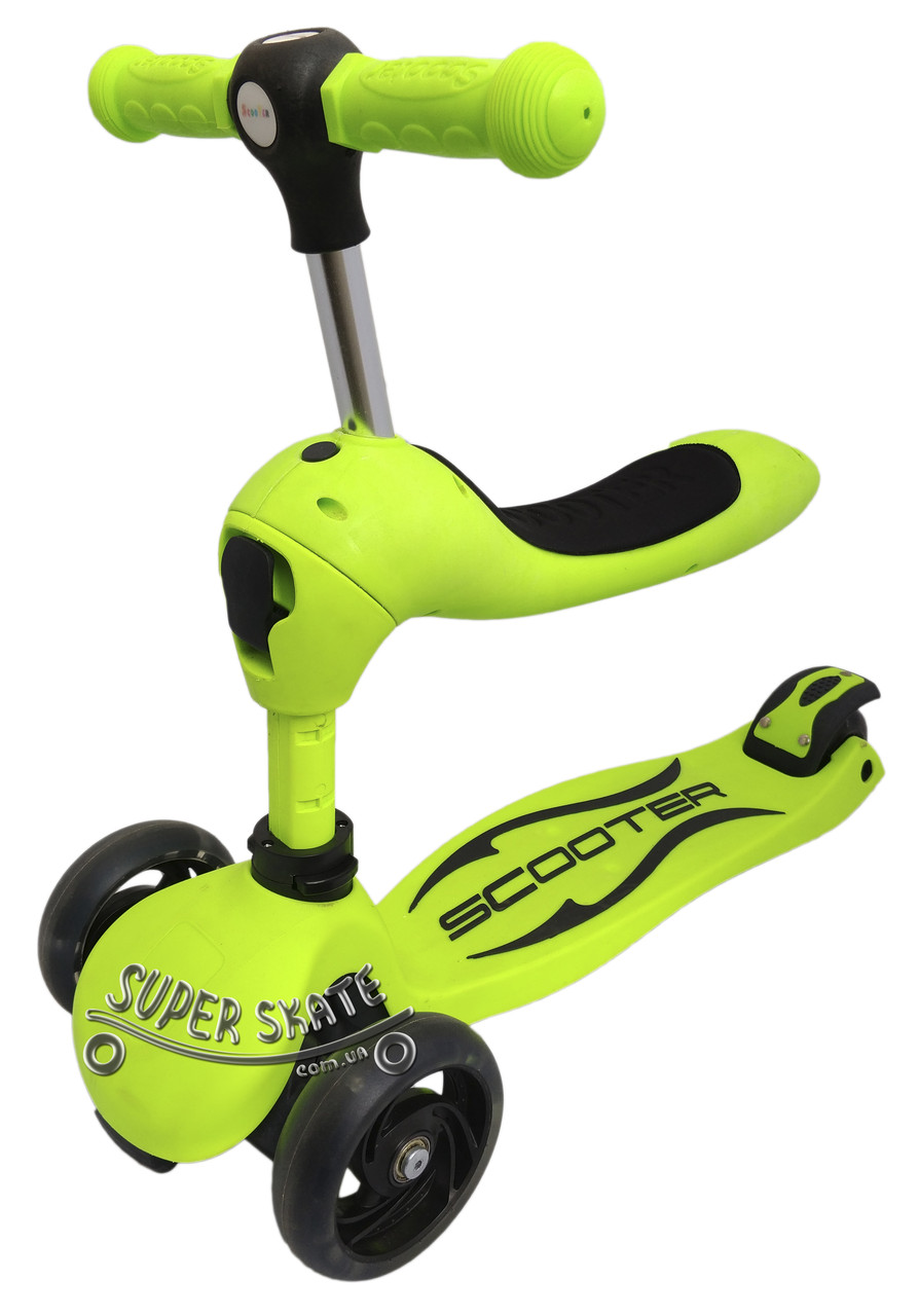 Самокат детский с сиденьем, Самокат Беговел Scooter Трансформер 2в1 - Green
