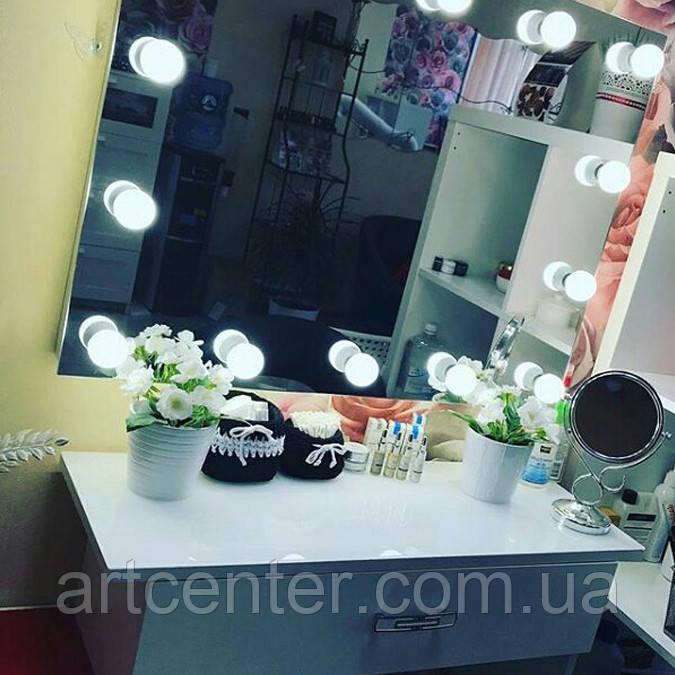 Компактный столик для визажиста с навесным зеркалом, туалетный столик белого цвета
