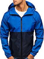 Ветровка курточка мужская весенняя/осенняя, цвет сине-черный