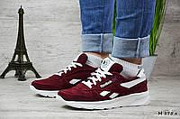 Женские замшевые кроссовки Reebok. Бордовые. Натуральная кожа, фото 1