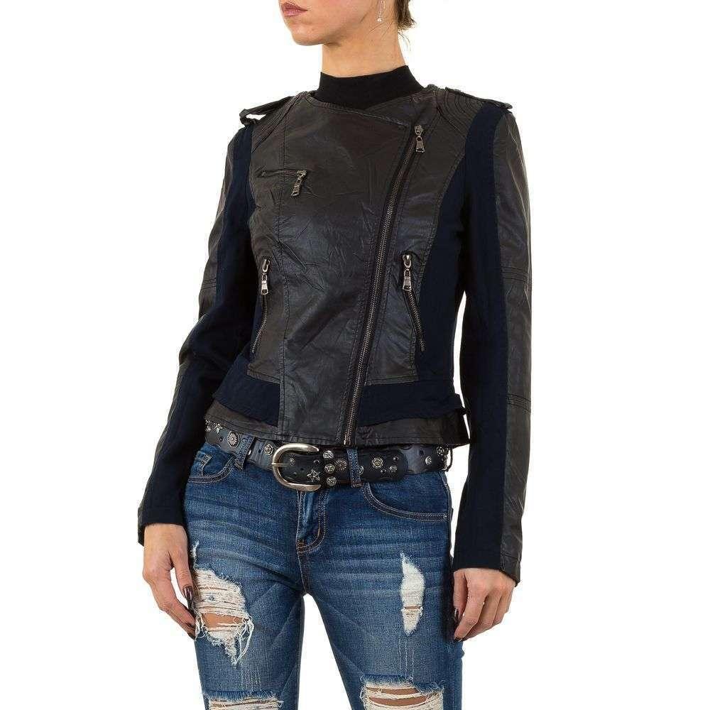 Куртка женская из кожзама со вставками Vivo Modo (Италия), Темно-синий