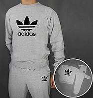 Мужской спортивный костюм, чоловічий костюм Adidas (серый+черный лого), Реплика