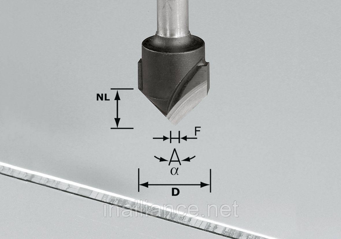 Фреза V-образная пазовая для фрезерования композитных панелей 90 градусов HW S8 D18-90°/Alu Festool 491444