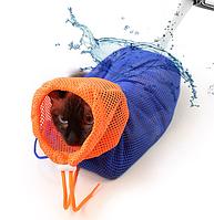 Мешок для купания и грумминга кота, Ch Man синий
