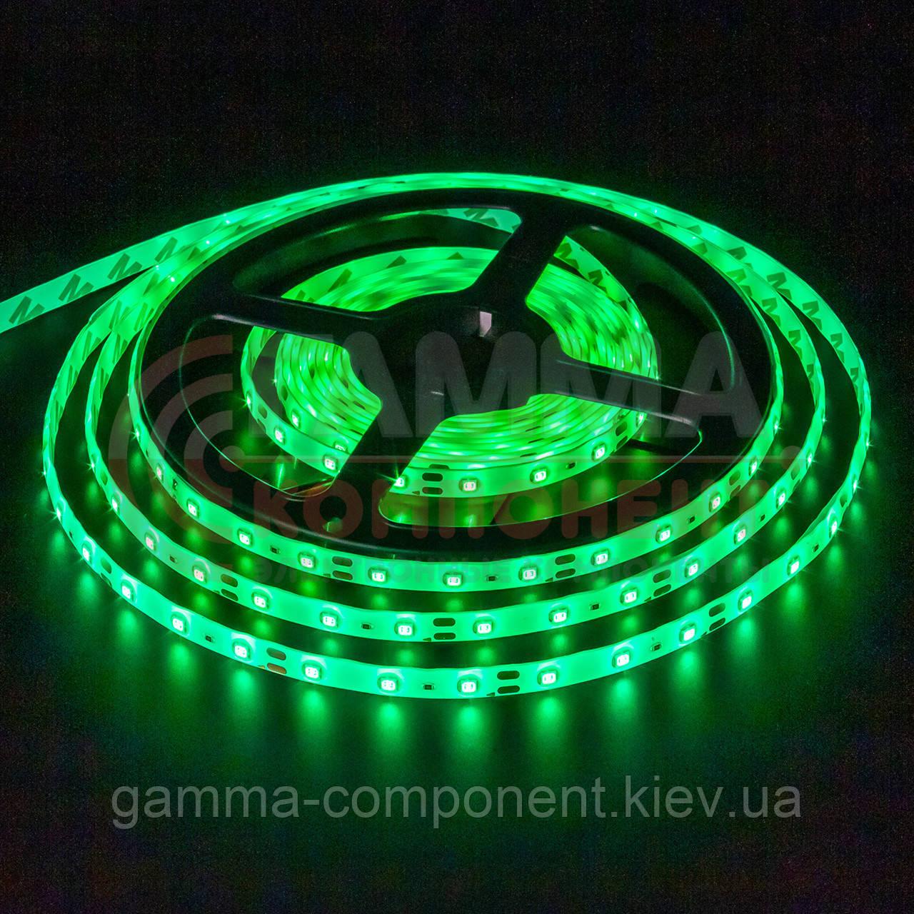 Светодиодная лента SMD 3528 (60 LED/м), зеленый, IP65, 12В