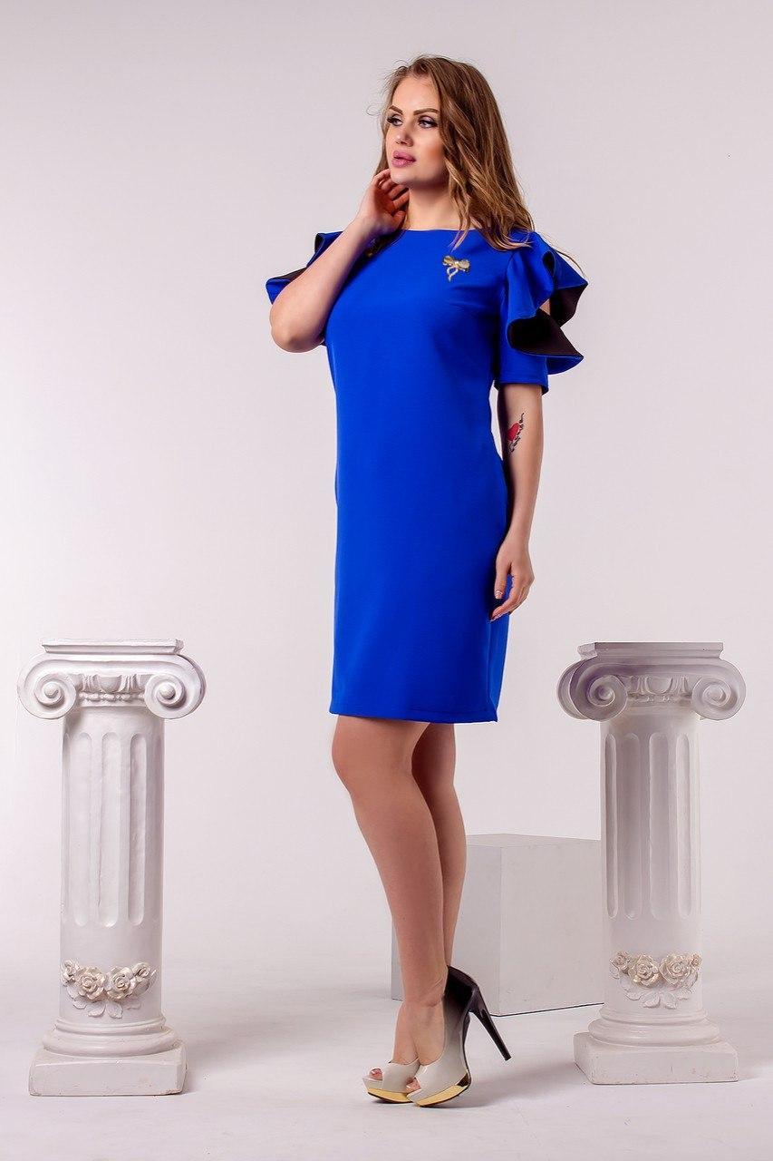 Синее платье с рукавами воланами