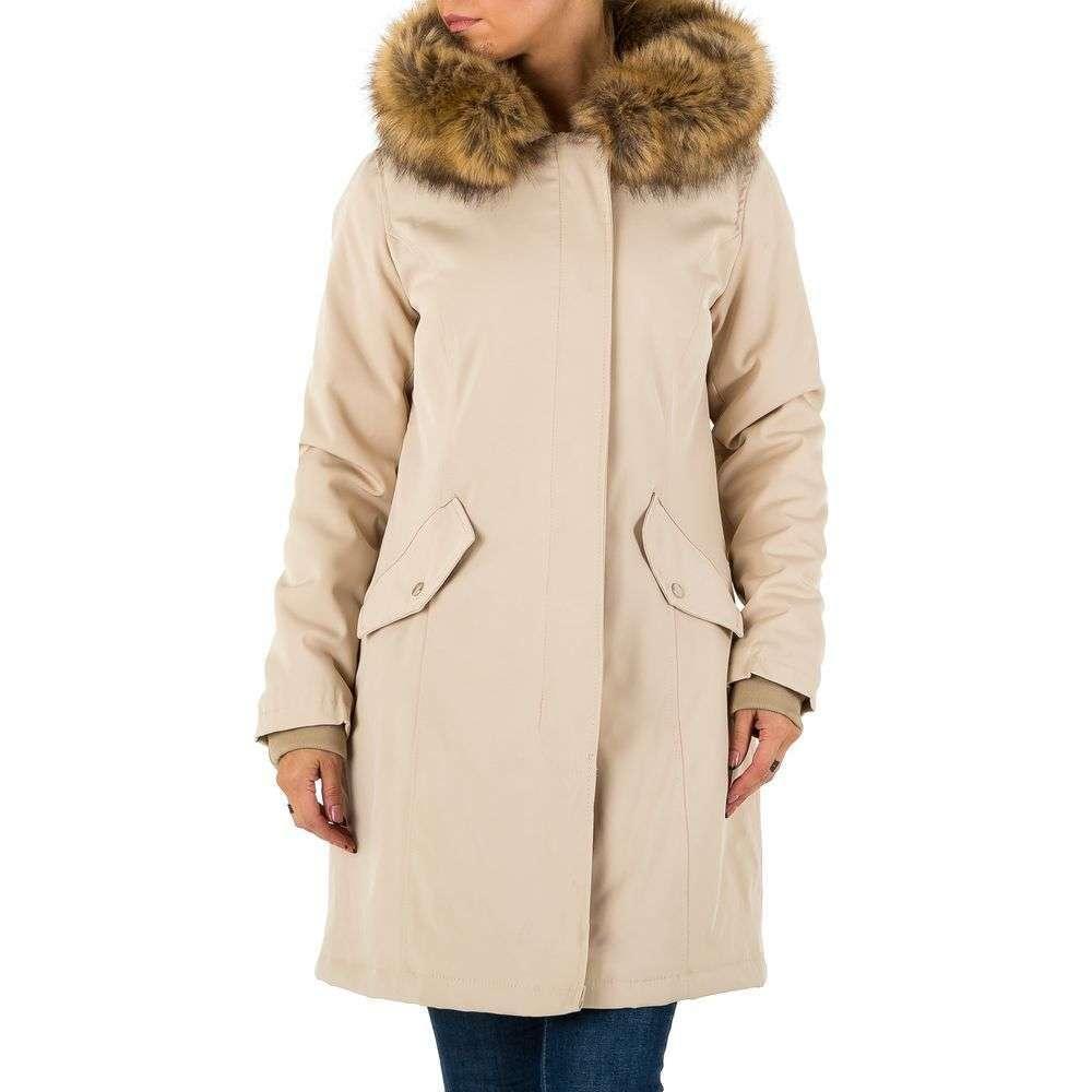 Пальто демисезонное с мехом женское (Европа), Бежевый