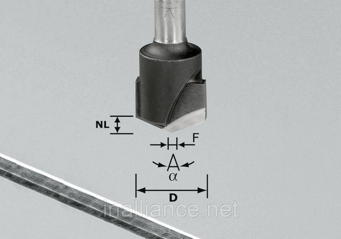 Фреза V-образная HW D18-135GRAD (ALU) пазовая для фрезерования композитных панелей 135 градусов Festool 491443