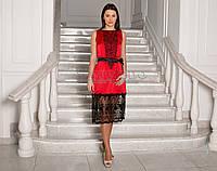 Червоне елегантне плаття з вишивкою