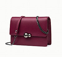 Маленькая кожаная сумочка на цепочке бордовая, фото 1