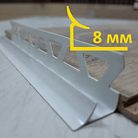 Внутренний угол из ПВХ для плитки 8 мм, длина 2,5 м Белый, фото 1