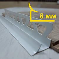 Внутренний угол из ПВХ для плитки 8 мм, длина 2,5 м Белый