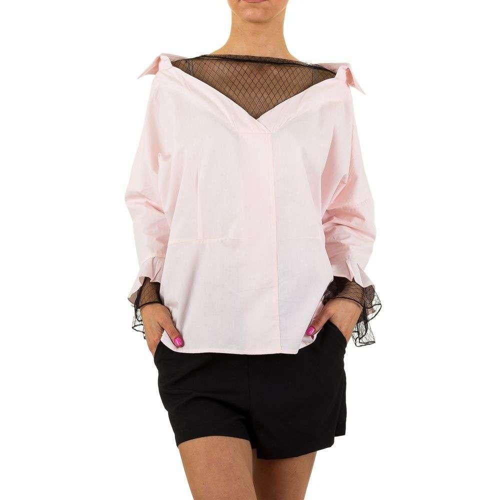 Женская блузка с расклешенными рукавами и кружевом (Европа) Розовый