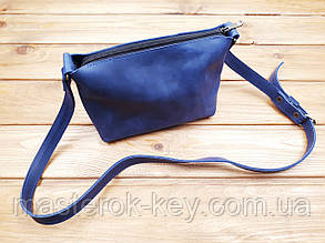 Женская сумка ручной работы из натуральной кожи цвет синий