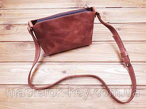 Женская сумка ручной работы из натуральной кожи цвет коньяк