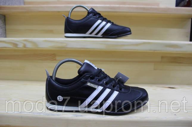 Женские подростковые кроссовки Adidas черные реплика, фото 2