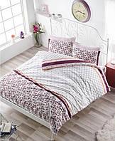 Двуспальное евро постельное белье Altinbasak Hera bordo Ранфорс