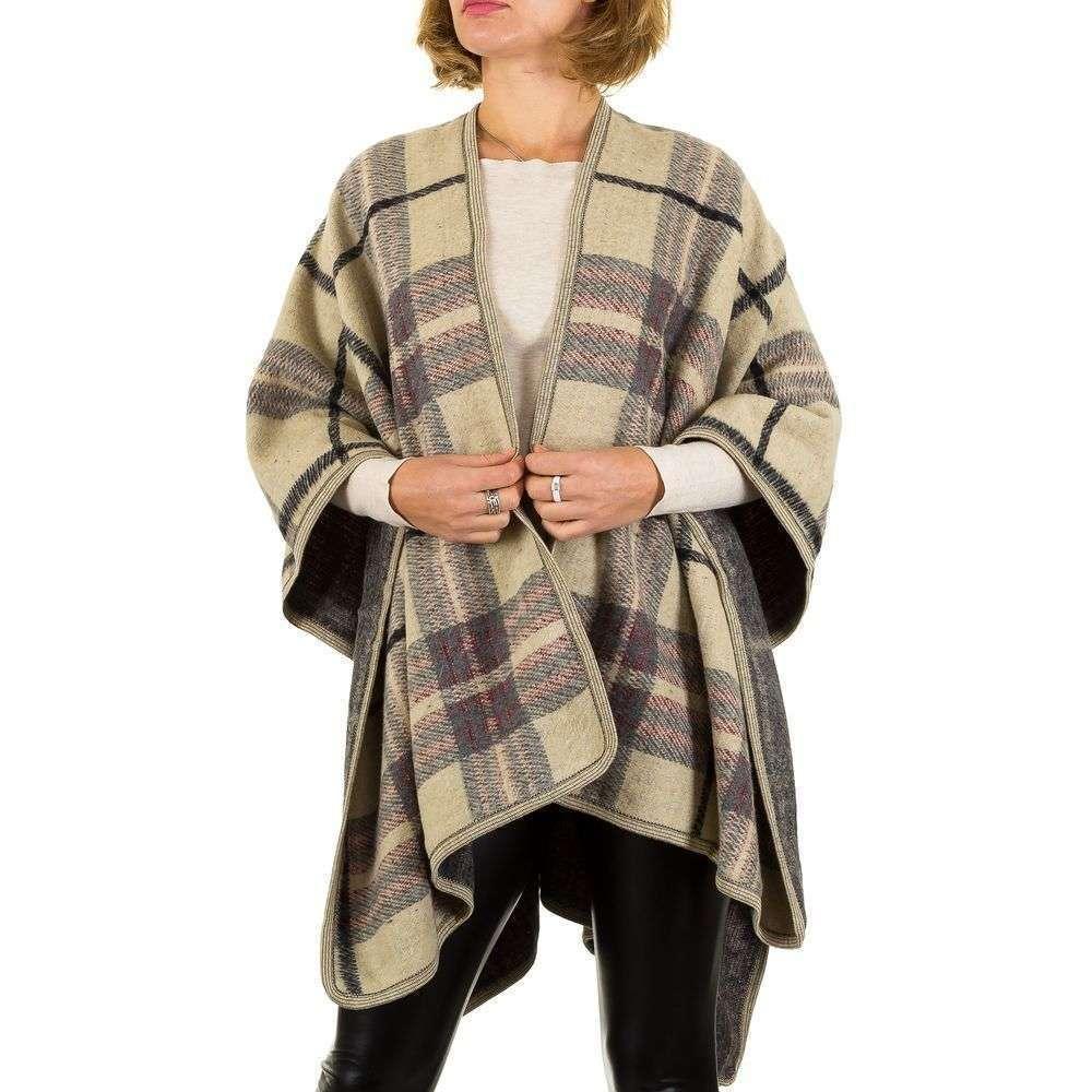 Женское пончо в клетку от бренда Best Fashion (Франция), Бежевый