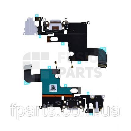 Шлейф iPhone 6 коннектор зарядки, микрофон (White) Used Original, фото 2
