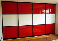 Двери-купе с крашеным стеклом 9003 и 1586