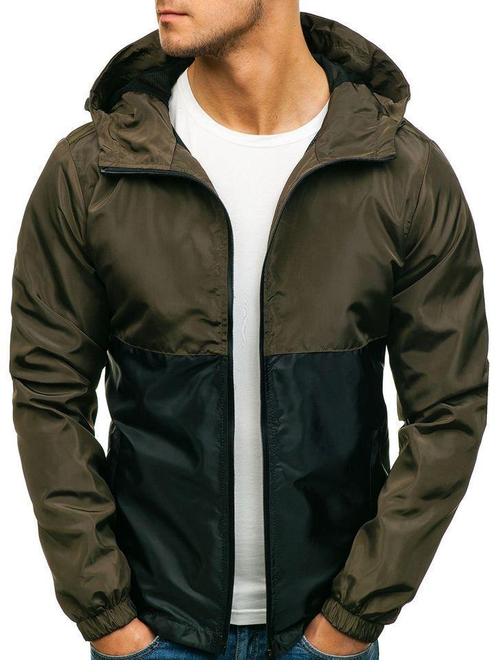 Ветровка курточка мужская весенняя/осенняя, цвет зелено-черный, фото 1