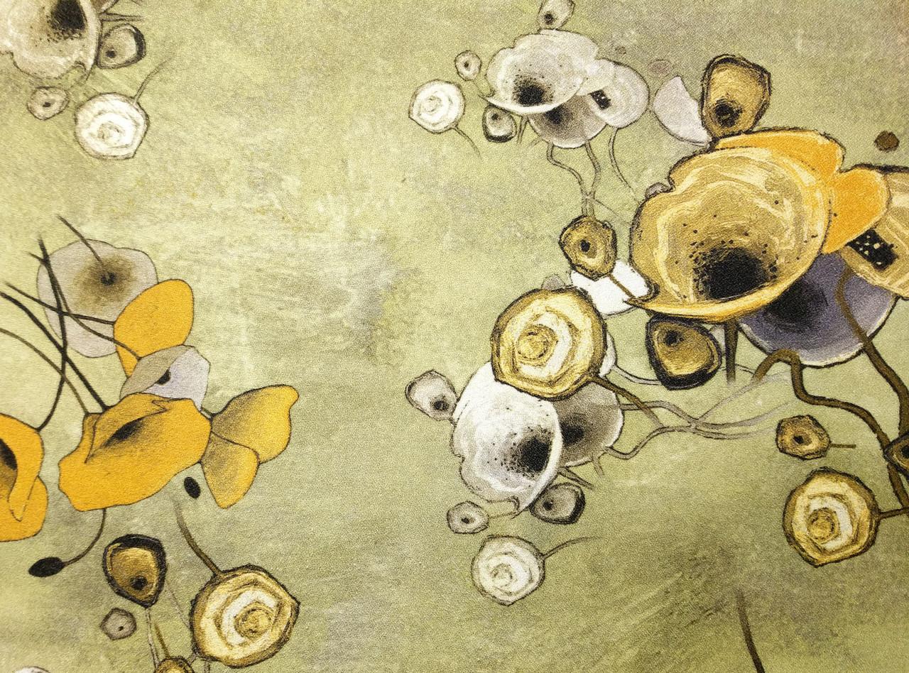 Плательный креп цветочная абстракция, оливковый