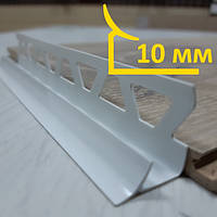 Внутренняя раскладка из ПВХ для плитки 10 мм, длина 2,5 м Белый, фото 1