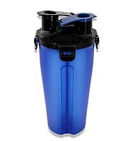 Бутылка двойная для воды и корма или лакомства со складной миской для собак и кошек