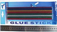 Набор цветных клеевых стержнейс блестками, 7 мм. х 200 мм. (8 штук)
