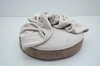 Лежак пуф с одеялом для собак и котов Замш круглый коричневый