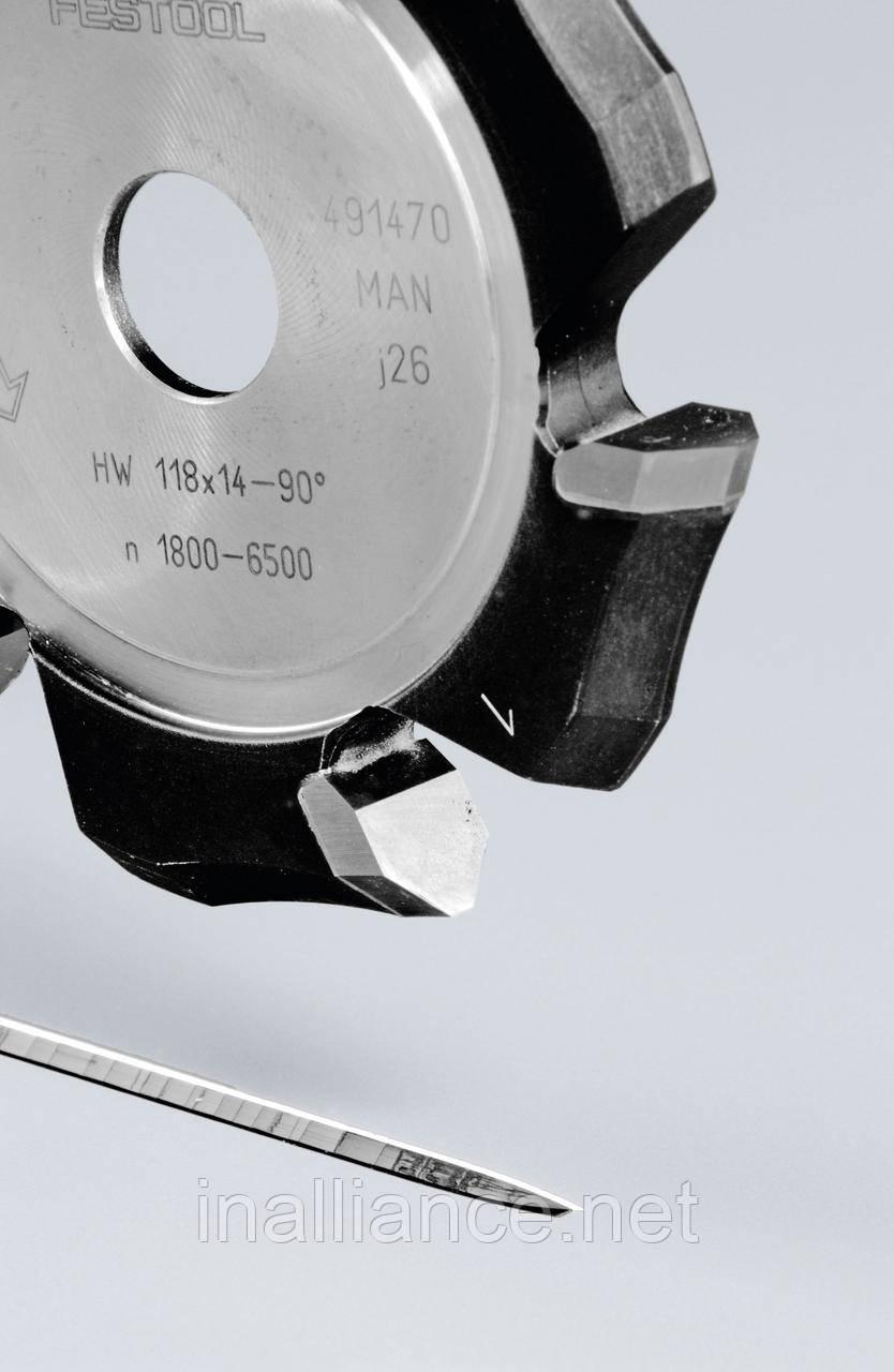 Фреза V-образная пазовая для фрезерования композитных панелей 90 градусов HW 118x14-90°/Alu Festool 491470
