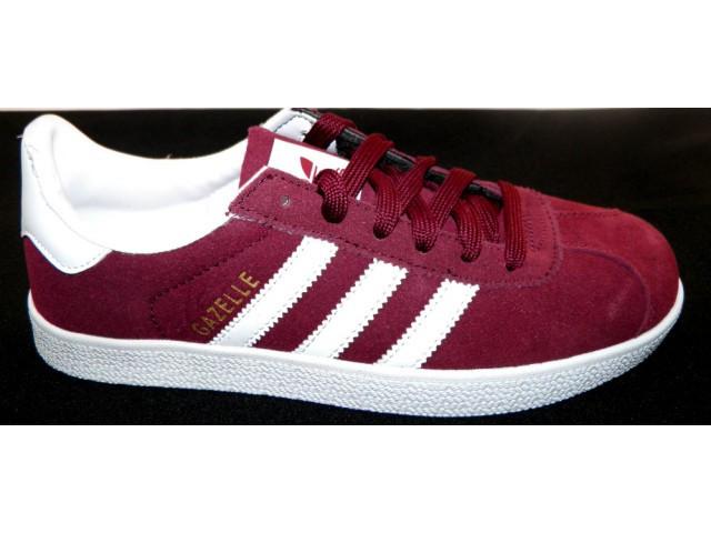 Кроссовки подростковые Adidas gazell ( Реплика) 3009-6 бордовый