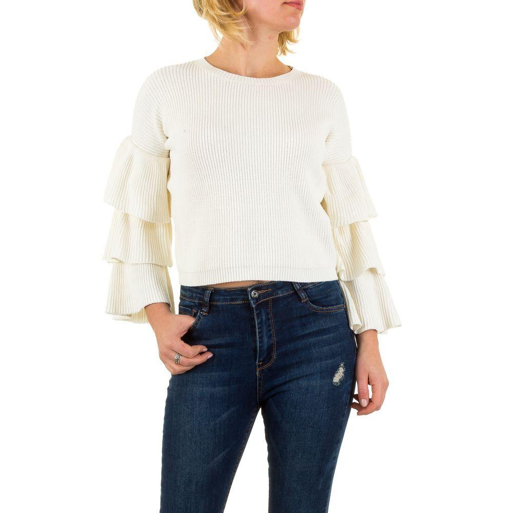 Женский джемпер короткий с рюшами на рукавах (Европа), Белый